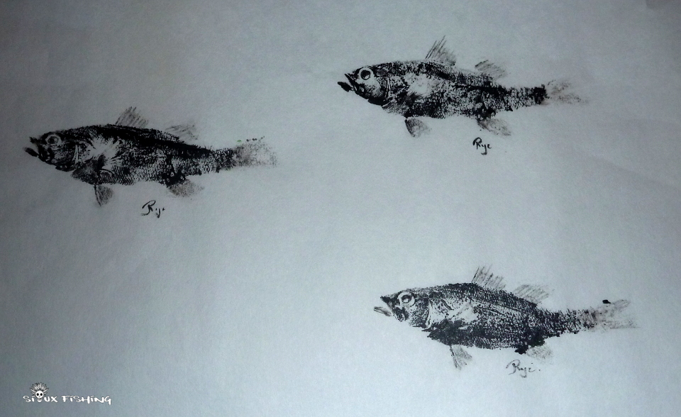 gyotaku de black-bass